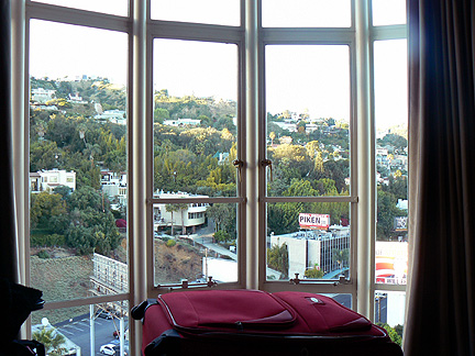 View from window of hollywood hills