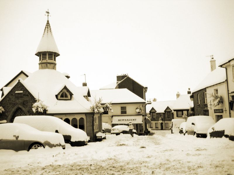 Village square in snow
