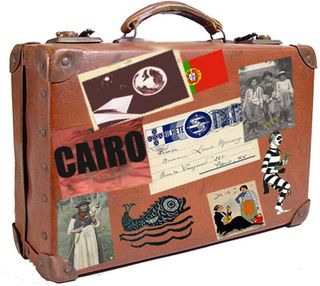 A well-traveled suitcase