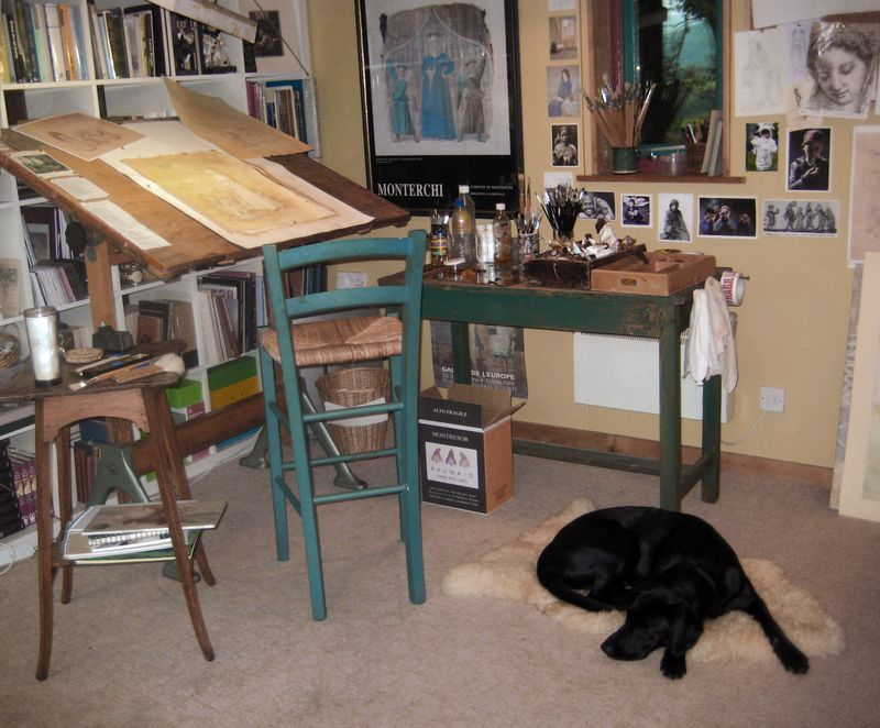 Tilly's spot near the drawing table