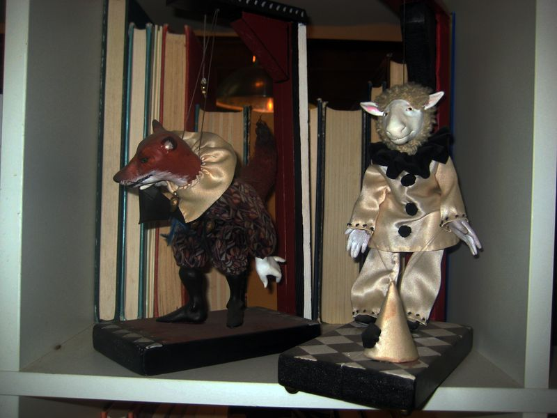 Marionettes by Wendy Froud on a studio shelf