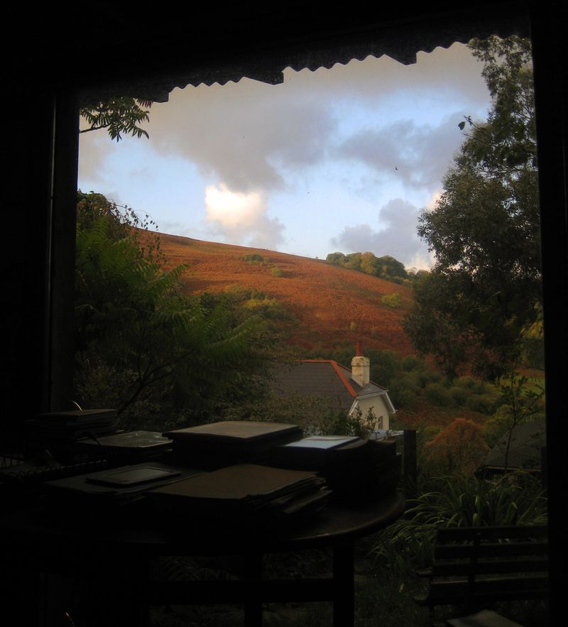 Autumn hills out the studio window