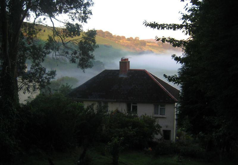 Our house in the early morning mist