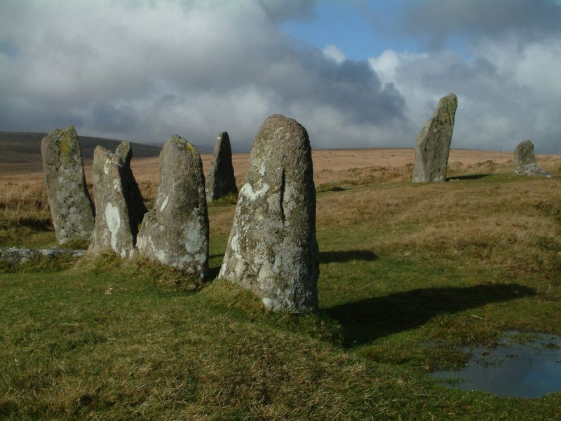 Standing stones on Dartmoor by Helen Mason