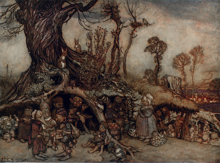 The Little People's Market by Rackham