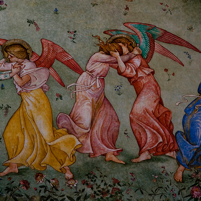 Angels Kissing (mural detail) by Phoebe Traquair
