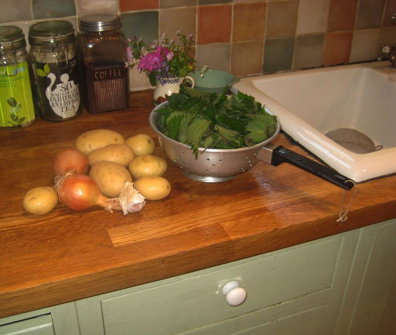 Preparing nettle soup.