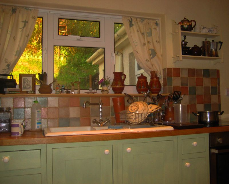 Evening sunlight through the kitchen window.