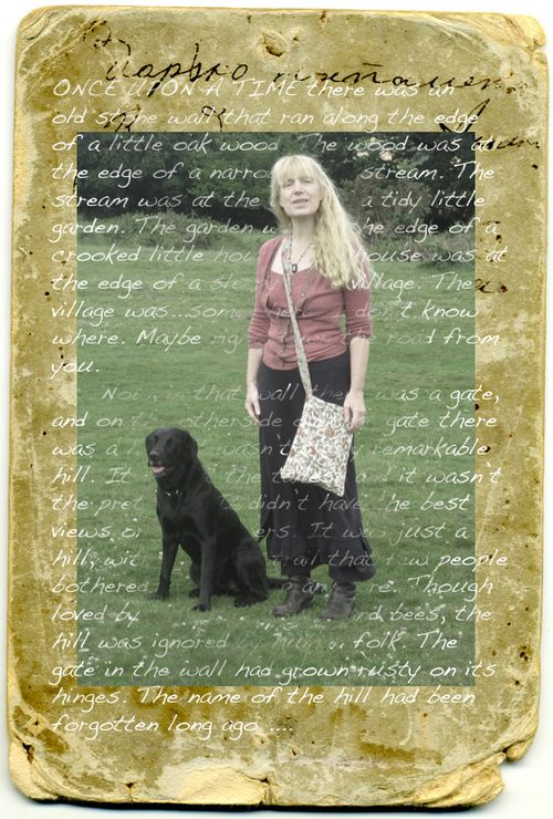 Collage: A Writer and her Faithful Black Dog
