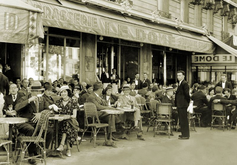 Paris cafe life between the wars (a National Geographic photograph, photographer unknown)