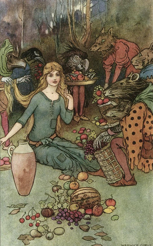 Goblin Market illustration by Warwick Goble