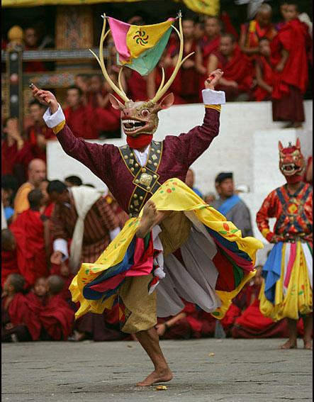 A deer dancer in Bhutan