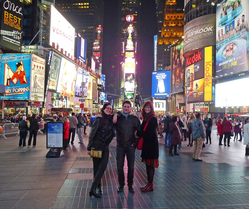 Ellen, Howard, and Delia in Time Square