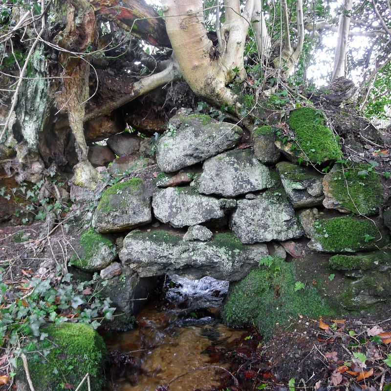 Water flows under an old stone wall, 2