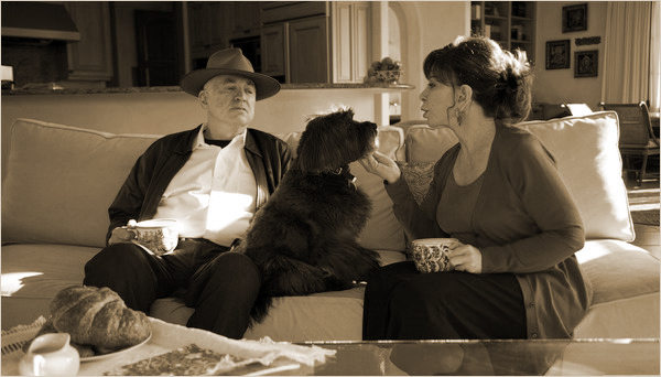 Isabel Allende, with her husband William Gordon, and their dog Olive