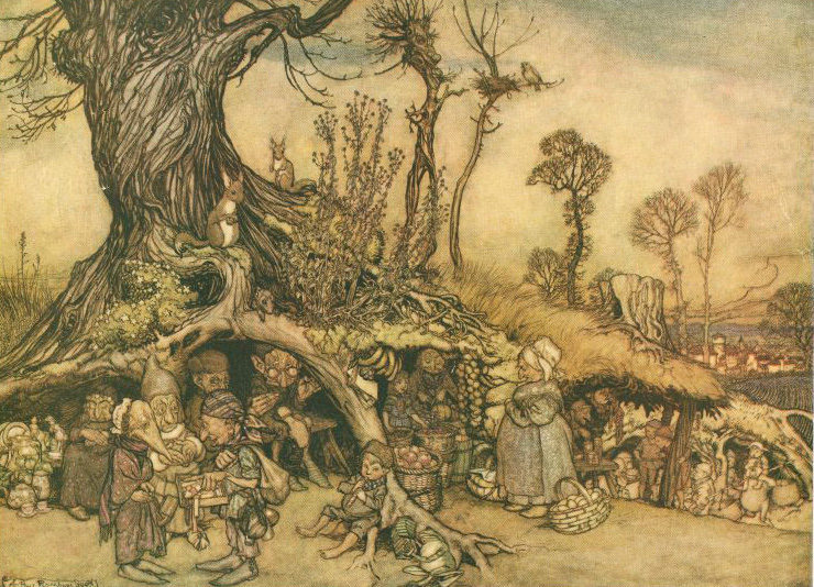Little People's Market by Arthur Rackham