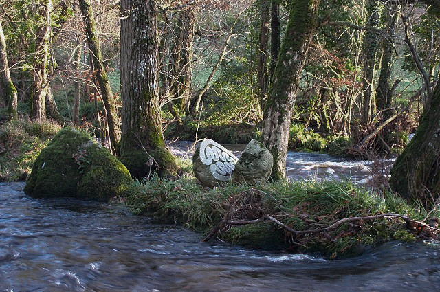 Sculpture by the River Teign, Peter Randall-Page