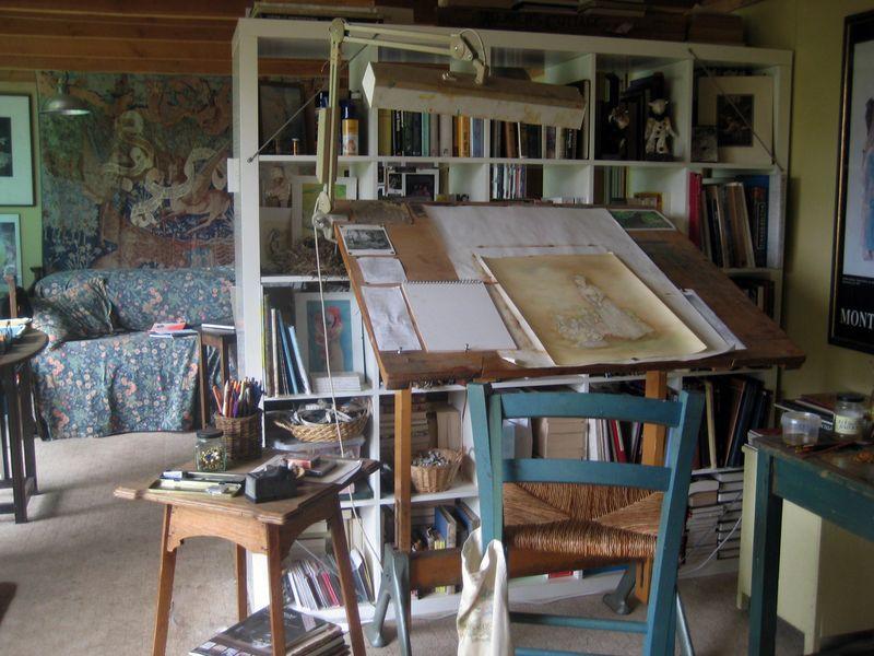 On my desk in the art half of my studio