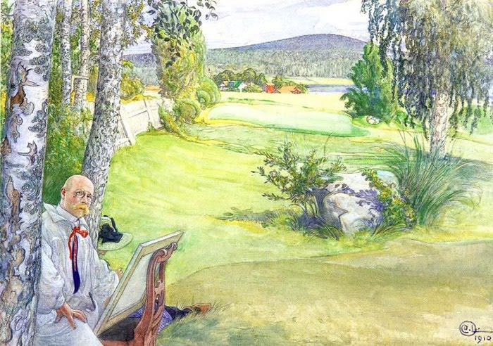 Paradise: Self-portrait in a Landscape by Carl Larsson
