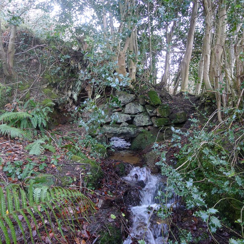 Water flows under an old stone wall, 1