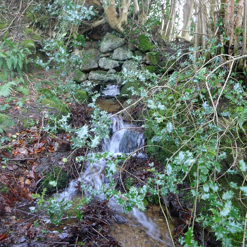 Water flows under an old stone wall, 4