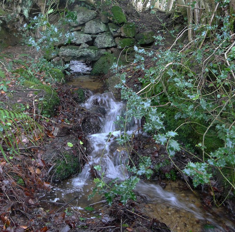 Water flows under an old stone wall, 3