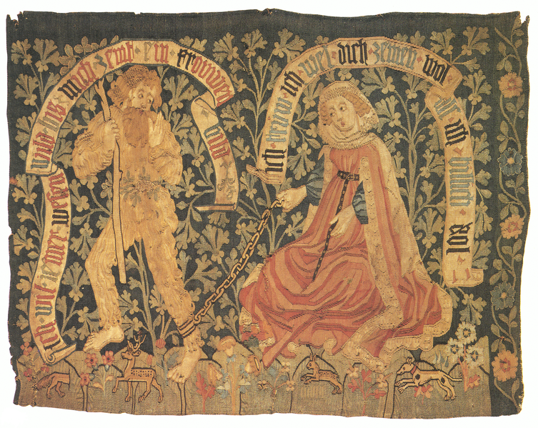 A Virtuous Lady Tames a Woodwose (a tapestry from the Church of Iceland)