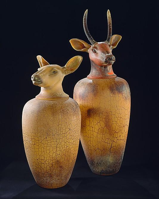 Doe and Deer Jars by glass artist William Morris