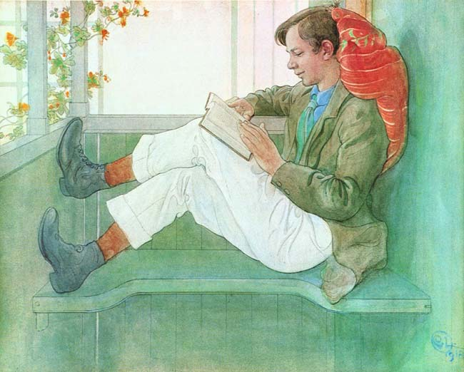 Boy Reading by Carl Larrson