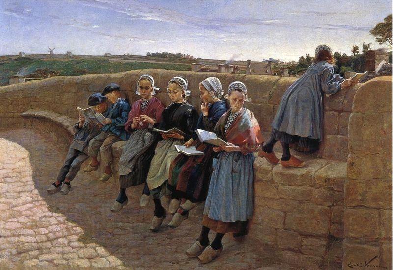 Breton Children Reading by Emile Vernon
