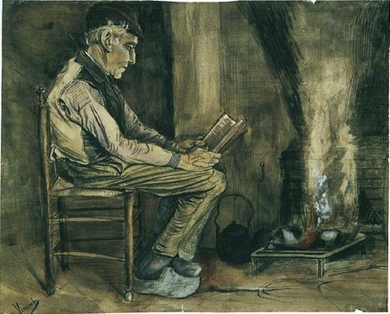 Farmer Sitting at the Fireside and Reading by Vincent van Gogh