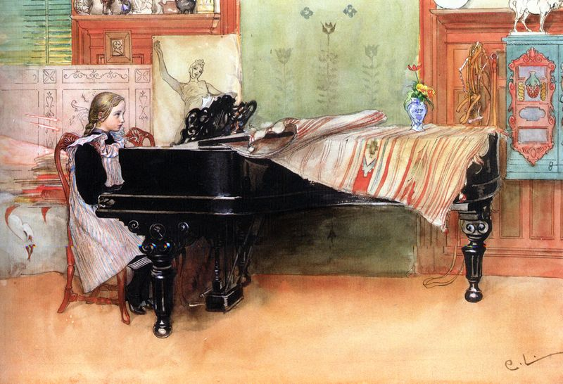 The Piano Lesson by Carl Larsson