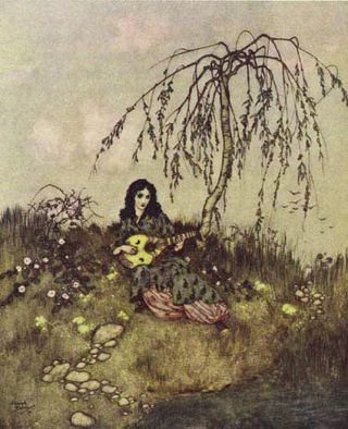 Beauty & the Beast: After She Had Done Her Work She Would Sing and Play  by Edmund Dulac