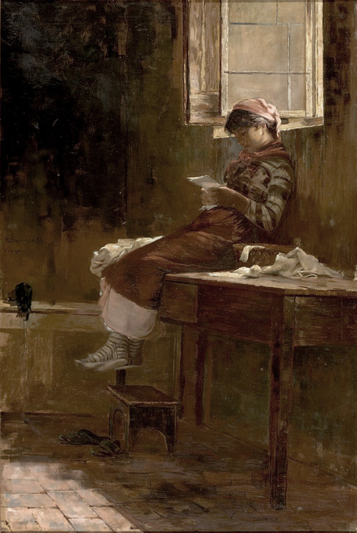 Interior with Girl Reading by Henrique Bernardelli (Brazil)