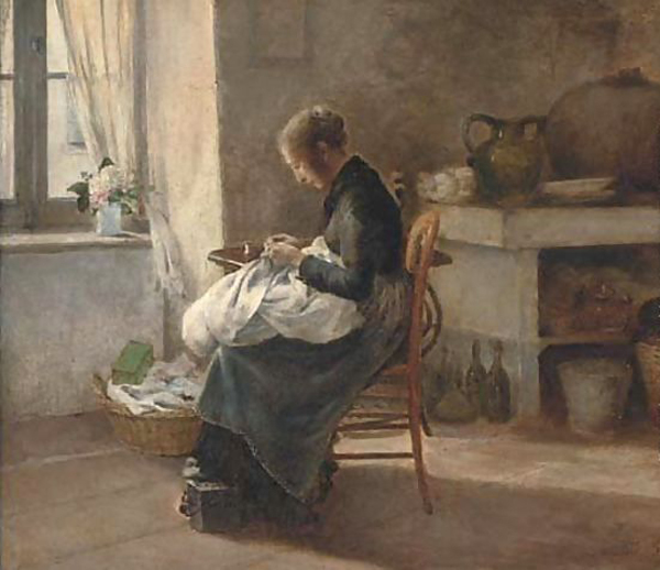 Woman Sewing in an Interior by Marie-Gabriel Biessy