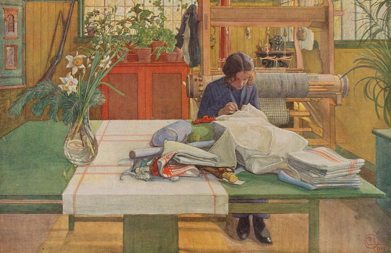 Loom and Thread by Carl Larsson