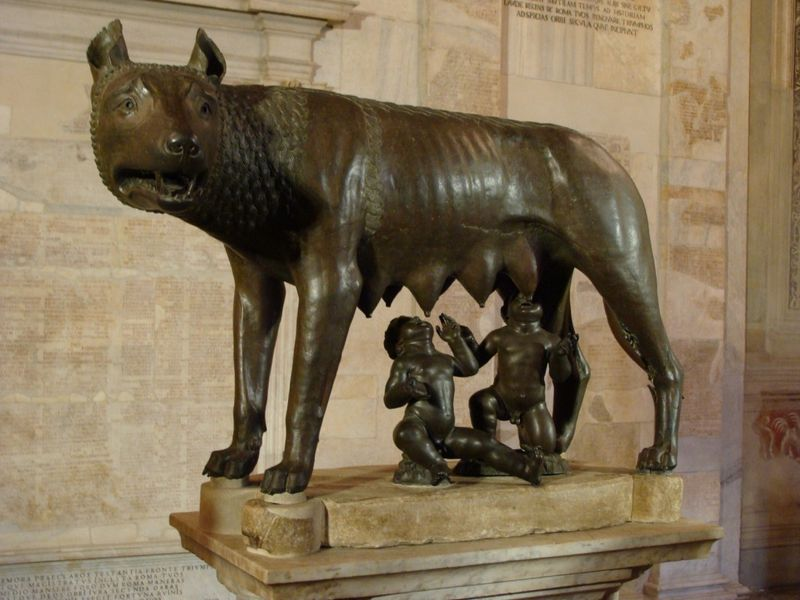 Remus and Romulus, an Ertruscan bronze displayed at the Musei Capitolini in Rome