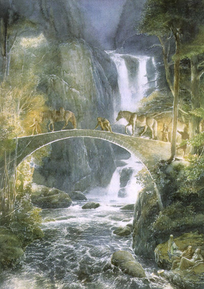 An illustration for The Hobbit by Alan Lee