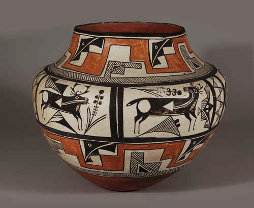 Pueblo Indian Bowl, Acoma, New Mexico - Polychrome Olla with Heartline Deer