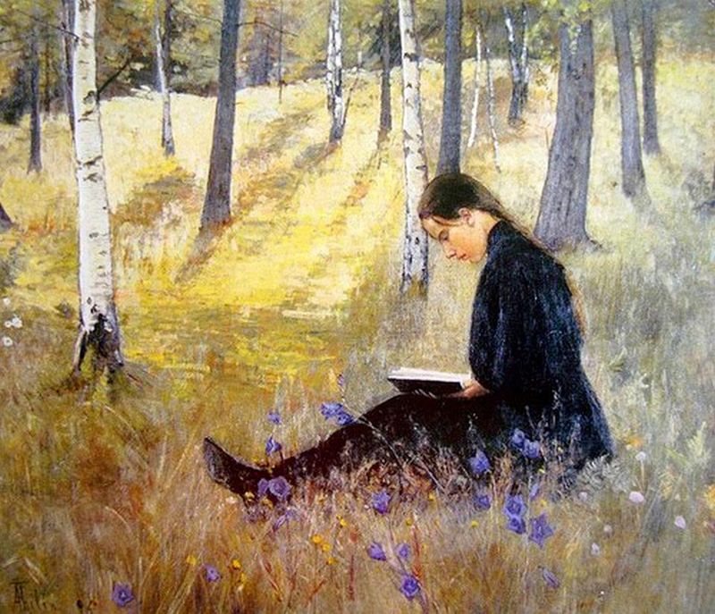 Girl Reading in the Landscape by Ada Thilén