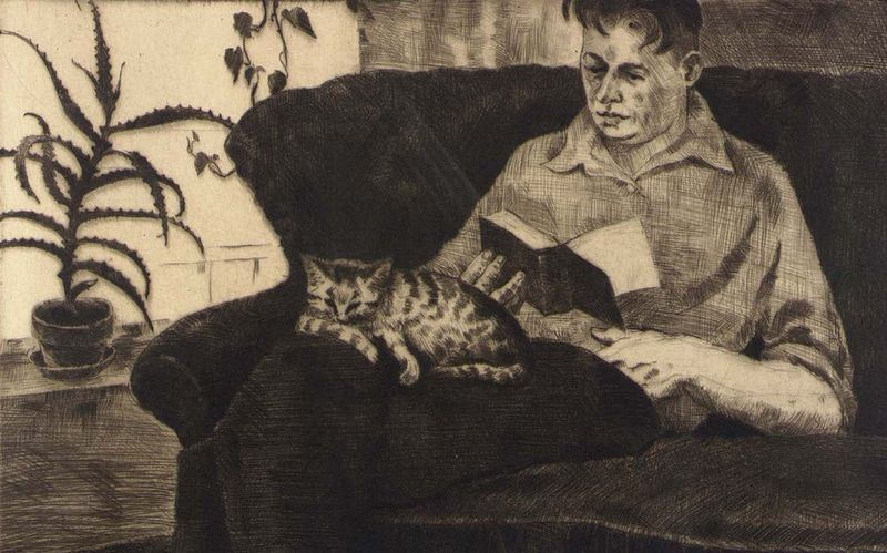Man Reading (Portrait of Gustaf Dalstrom) by Frances Foy