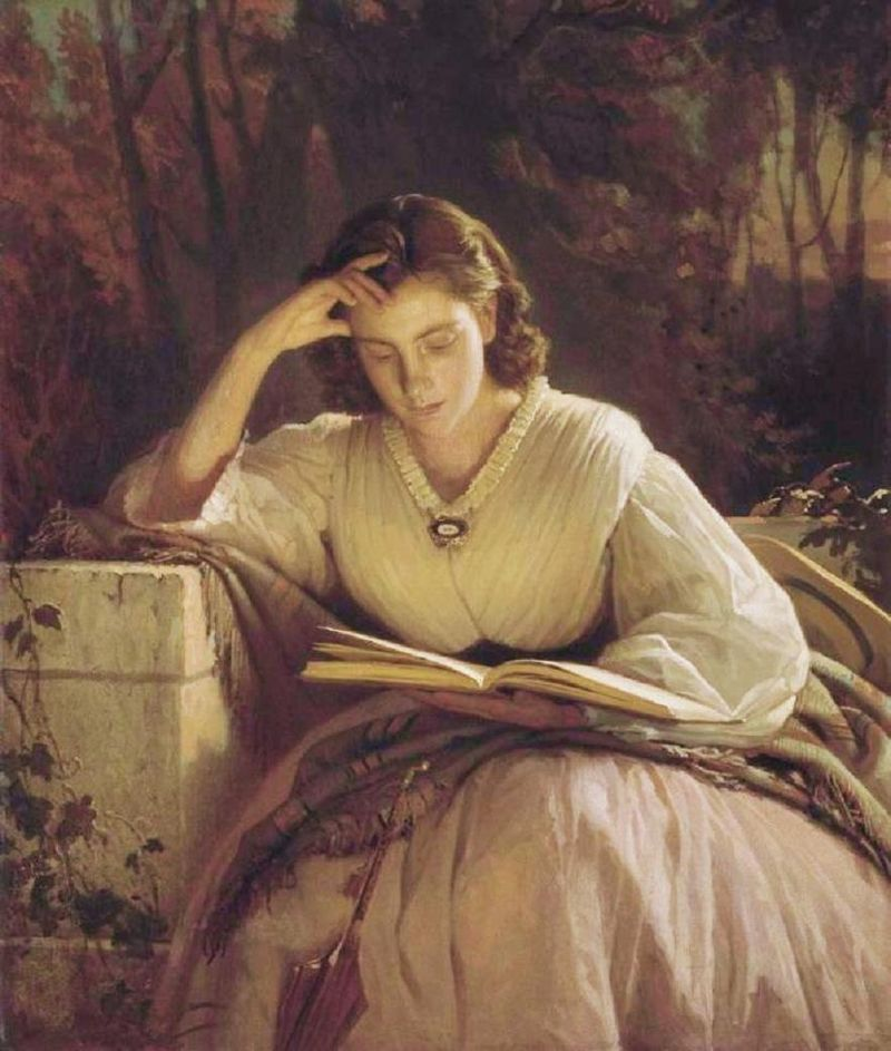 Whilst Reading, a Portrait of Sofia Kramskoya, the Artist's Wife by Ivan Kramskoi