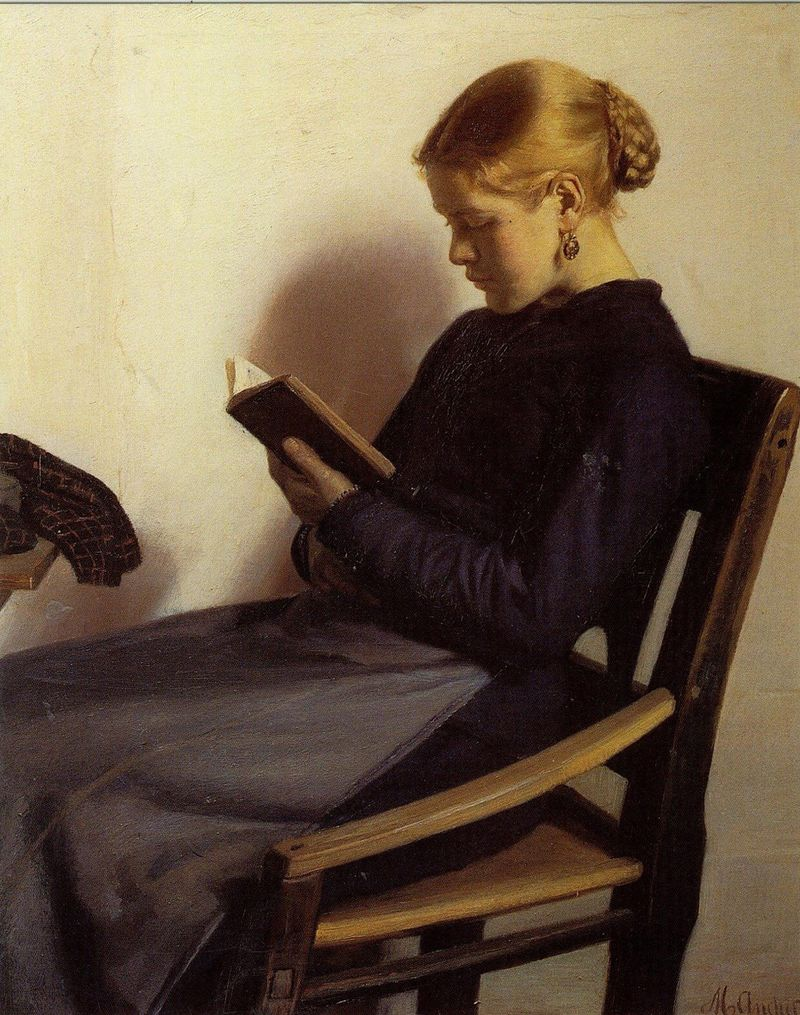 A Young Girl Reading by Michael Peter Ancher