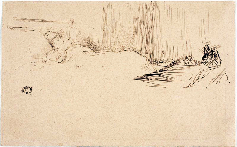 Girl Reading in Bed by James McNeil Whistler