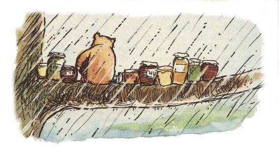 Pooh with his honey pots by Howard Earnest Shepard