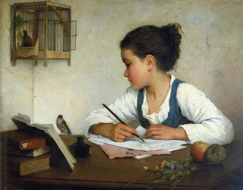 Girl Writing by Henriette Browne