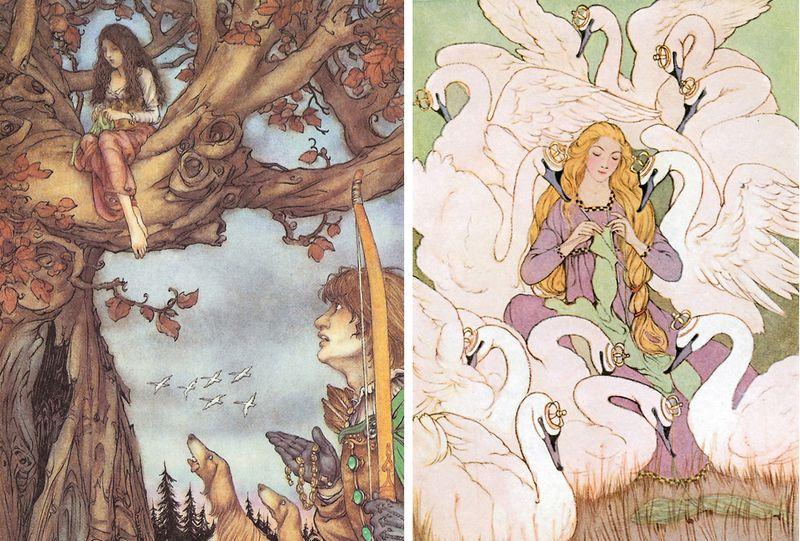 Wild Swan illustrations (knitting coats from nettles) by Mercer Mayer and Eleanor V. Abbott