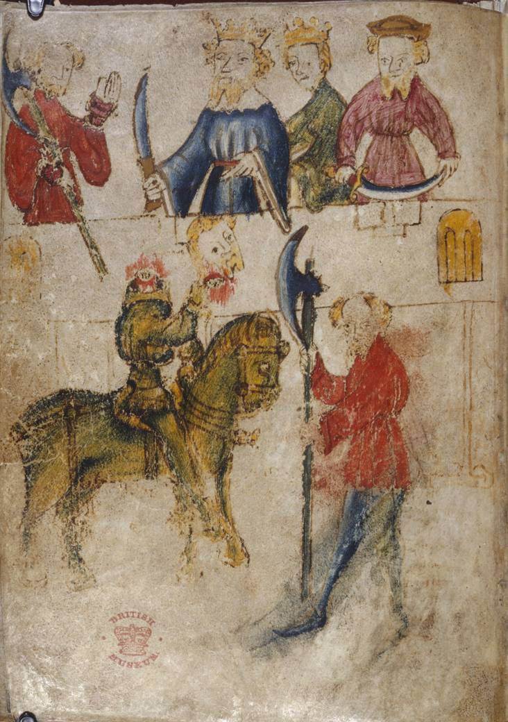 14th century manuscript illustration for Gawaine and the Green Knight
