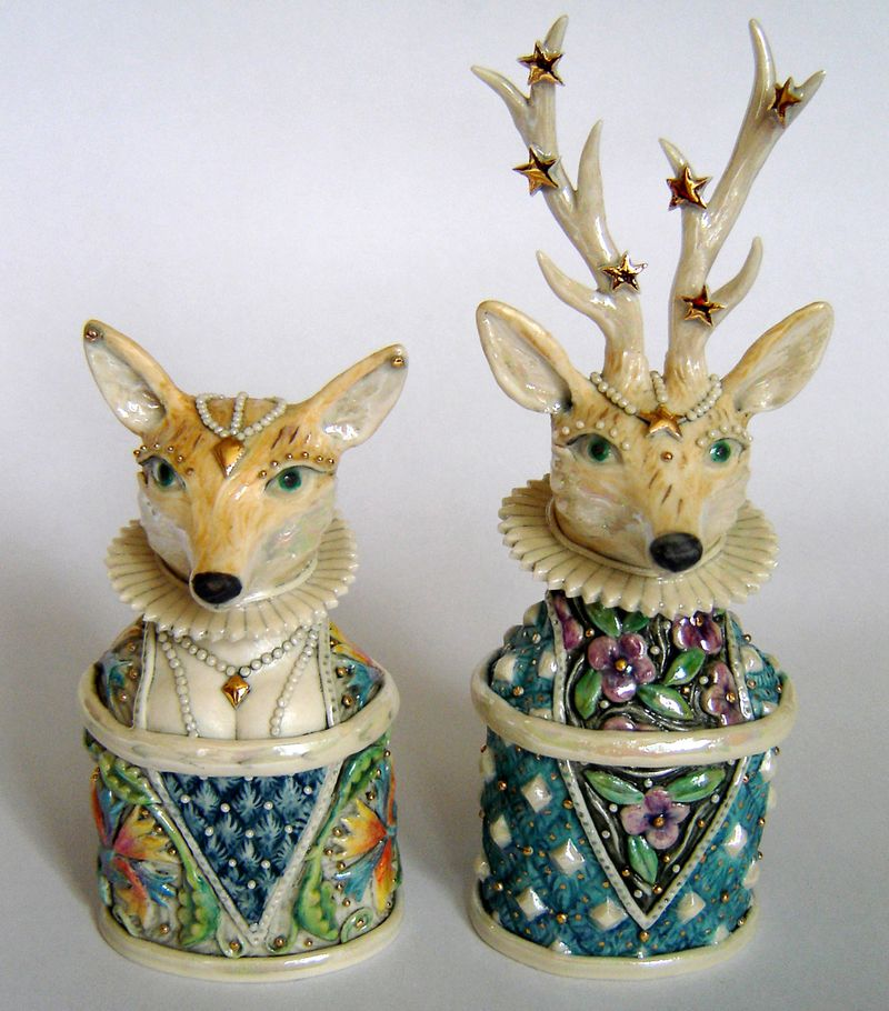 Deer and Doe Porcelain Boxes by Eleanor Bartleman