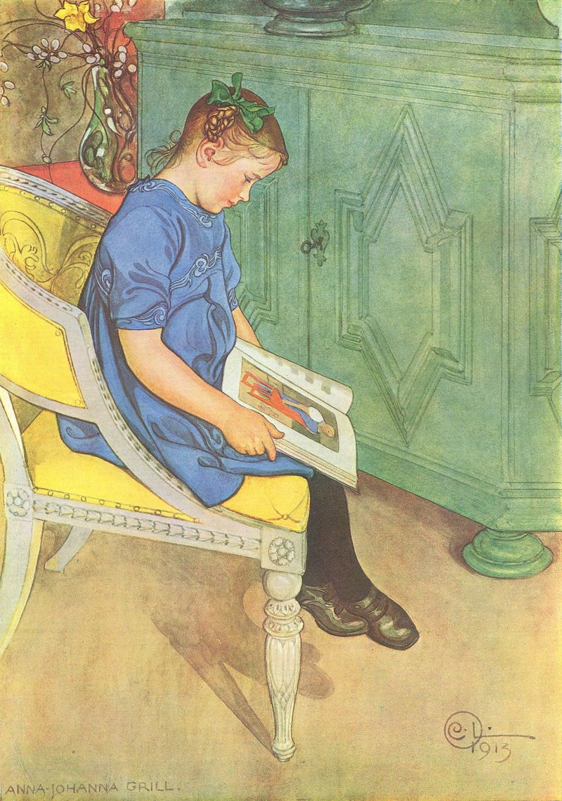 Girl Reading by Carl Larrson